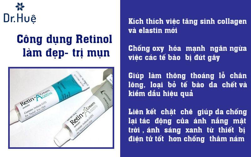 Công dụng Retinol trong làm đẹp trị mụn