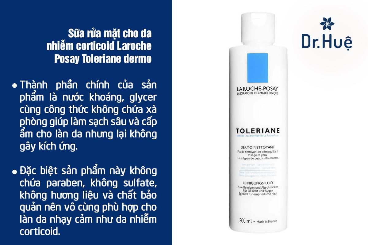 Sữa rửa mặt cho da nhiễm corticoid Laroche Posay: Toleriane dermo