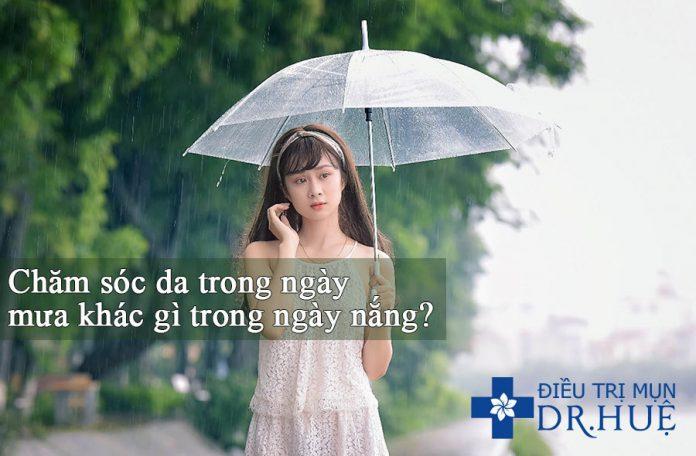 chăm sóc da mụn ngày mưa