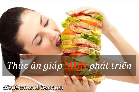thức ăn giúp mụn phát triển