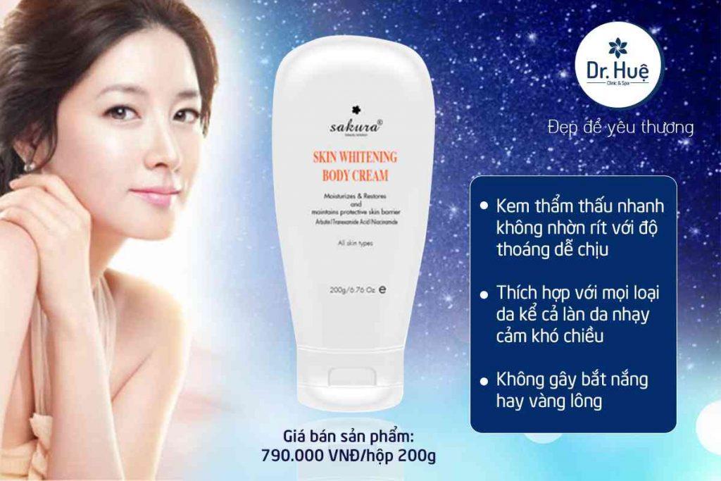 Kem dưỡng trắng da toàn thân Sakura Skin Whitening L-Glutathione Body Cream